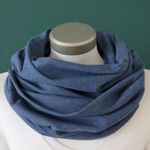 Milo-Schaly Loop Sweat blau meliert Baumwolle Herren kuscheliger Schal unisex  - Handarbeit kaufen