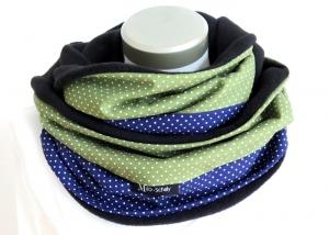 Milo-Schaly Loop Fleece Loopschal Punkte blau grün Kuschelschal Schlauchschal Loopschal  - Handarbeit kaufen