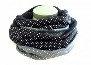 Milo-Schaly Loop Fleece Loopschal Punkte grau schwarz Kuschelschal Schlauchschal Loopschal  - Handarbeit kaufen