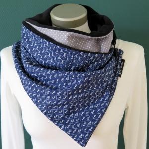 Milo-Schaly Wickelschal mit Knopf Anker blau grau Damen Fleece warmer Schal Knopfschal Schlauchschal Kuschelschal    - Handarbeit kaufen