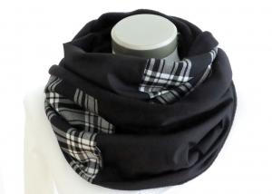 Milo-Schaly Loop Schal Herren Fleece schwarz weiß Schottenkaro Männerschal   - Handarbeit kaufen