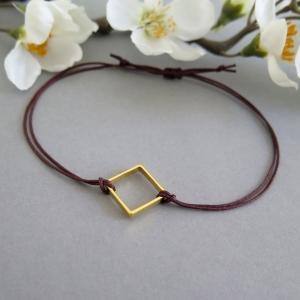 Armband goldfarben Quadrat Freundschaftsarmband Makramee Farbwahl 25 Farben  Freundschaftsband   - Handarbeit kaufen