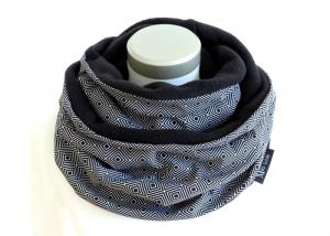 Milo-Schaly Loop Damen schwarz weiß Fleece Kuschelschal   - Handarbeit kaufen