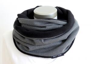 Milo-Schaly Loop Damen Herren schwarz weiß Fleece Kuschelschal warmer Schal Schlauchschal