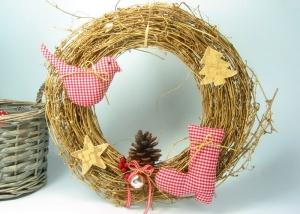 Türkranz Kranz Advent Weihnachten Nikolausstiefel Weihnachtsdeko goldfarben rot - Handarbeit kaufen