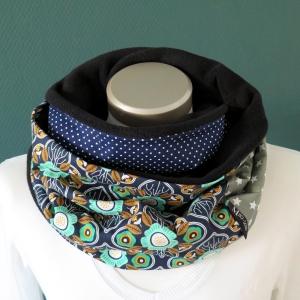 Milo-Schaly Loopschal Damen Schal Blumen blau grün  Loop Fleece Schlauchschal     - Handarbeit kaufen