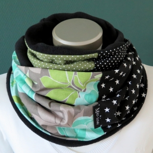 Milo-Schaly Loopschal Damen Schal Blumen grau grün mint Loop Fleece Schlauchschal   - Handarbeit kaufen