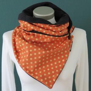 Milo-Schaly Wickelschal mit Knopf Tupfen orange Damen Schal Fleece Knopfschal  - Handarbeit kaufen