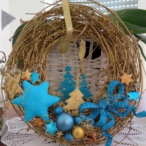 Türkranz Kranz Advent Weihnachten türkis goldfarben Tannenbaum Sterne Weihnachtsdeko Winterdeko - Handarbeit kaufen