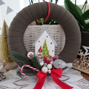 Weihnachten Kranz Winter Weihnachtsdeko Shabby rot weiß Türkranz - Handarbeit kaufen