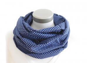 Milo-Schaly Loop Damen Baumwolle blau weiß Punkte Loopschal Baumwollschal  - Handarbeit kaufen