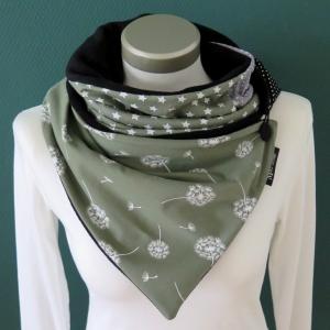 Milo-Schaly Wickelschal mit Knopf Damen Pusteblume grün Schal Fleece Knopfschal   - Handarbeit kaufen