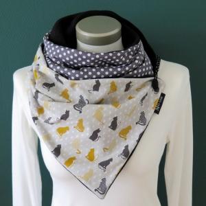 Milo-Schaly Wickelschal mit Knopf Damen Katzen grau warmer Schal Fleece Knopfschal  - Handarbeit kaufen