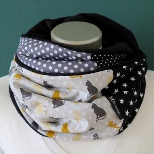 Milo-Schaly Loop Damen Katzen warmer Schal Kuschelloop grau bunt Geschenk - Handarbeit kaufen