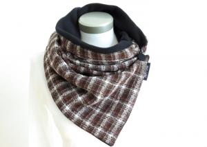 Milo-Schaly Wickelschal mit Knopf Boucle braun weiß Damen warmer Schal Fleece - Handarbeit kaufen