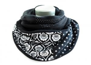Milo-Schaly Loopschal Blumen schwarz weiß Fleece Einzelstück  Loop Schlauchschal Kuschelschal Schal  - Handarbeit kaufen