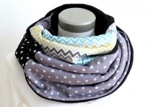 Milo-Schaly Loopschal grau bunt Fleece Einzelstück Loop  Damen - Handarbeit kaufen