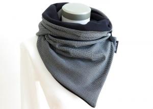 Milo-Schaly Edler Wickelschal mit Knopf schwarz weiß Schal Knopfschal - Handarbeit kaufen