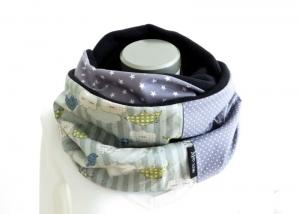 Milo-Schaly Loopschal grau bunt Vögel Fleece Einzelstück Loop  Damen warmer Schal - Handarbeit kaufen