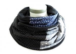 Milo-Schaly Loopschal blau grau Eiskristalle Schneeflocken Fleece Einzelstück Loop Damen warmer Schal - Handarbeit kaufen