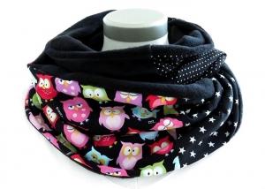 Milo-Schaly Loopschal Eulen schwarz bunt Fleece Loop Schal kuschelig - Handarbeit kaufen