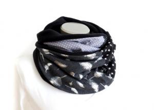 Milo-Schaly Loopschal Feder Fleece Loop Schal Kuschelschal grau silberfarben - Handarbeit kaufen