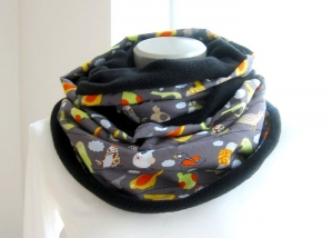 Milo-Schaly Loop Fleece Vögel grau bunt Loopschal Kuschelschal Schlauchschal warmer Schal  - Handarbeit kaufen