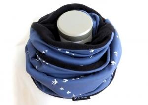 Milo-Schaly Loop Schwalben blau Fleece Schal Loopschal Damen - Handarbeit kaufen
