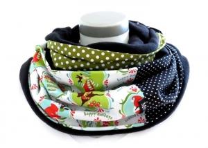 Milo-Schaly Loopschal Damen grün weiß Happy Holidays Winter Einzelstück Fleece Loop Schal  - Handarbeit kaufen