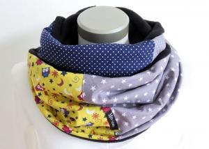 Milo-Schaly Loopschal Damen Eulen blau gelb grau Einzelstück Fleece Loop Schal Sterne Punkte - Handarbeit kaufen