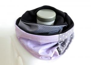 Milo-Schaly Loopschal Damen flieder grau Ballerina Einzelstück Fleece Loop Schal Sterne Punkte  - Handarbeit kaufen