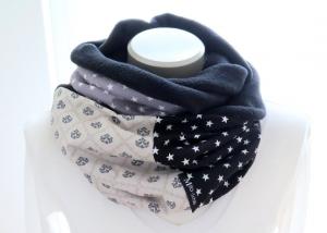 Milo-Schaly Loop  Damen grau Ornamente Schal Fleece Kuschelschal Loopschal Sterne Punkte - Handarbeit kaufen