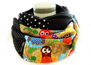 Milo-Schaly Loopschal Eulen bunt Einzelstück warmer Schal Punkte Sterne schwarz - Handarbeit kaufen