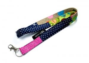 Milo-Schaly Schlüsselband lang Patchwork Karabiner Einzelstück Schlüsselanhänger blau bunt Punkte Affen - Handarbeit kaufen