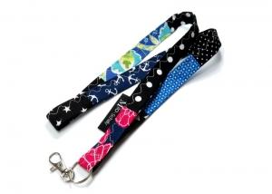 Milo-Schaly Schlüsselband lang bunt Patchwork Karabiner Einzelstück Schlüsselanhänger Blumen Anker Punkte - Handarbeit kaufen