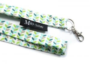 Milo-Schaly Schlüsselband lang Blätter grün weiß türkis Karabiner Schlüsselanhänger - Handarbeit kaufen