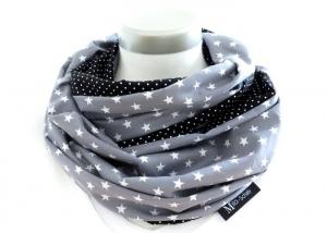 Milo-Schaly Loop Schal Damen Sterne grau + Punkte schwarz Baumwolle Wendeloop Schlauchschal - Handarbeit kaufen