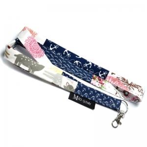 Milo-Schaly Schlüsselband lang mit Karabiner Einzelstück Patchwork Schlüsselanhänger blau weiß bunt Anker - Handarbeit kaufen