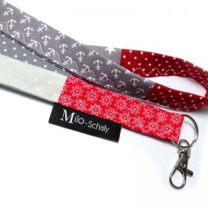 Milo-Schaly Schlüsselband lang mit Karabiner Einzelstück Patchwork Schlüsselanhänger rot grau Anker Punkte Blumen Sterne - Handarbeit kaufen