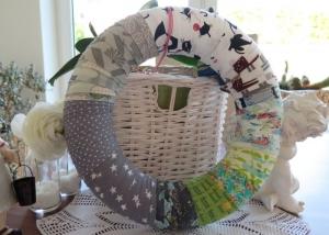 Türkranz Shabby Landhaus Patchwork Kranz Deko grün grau weiß Katzen Sterne Wandkranz Einzelstück ganzjährig  - Handarbeit kaufen