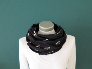 Milo-Schaly Loop Schal Baumwolle Jersey Libelle schwarz Loopschal Schlauchschal  - Handarbeit kaufen