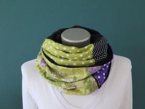 Milo-Schaly Loopschal Damen 4+ Varianten Blumen grün lia Fleece Einzelstück Loop  - Handarbeit kaufen