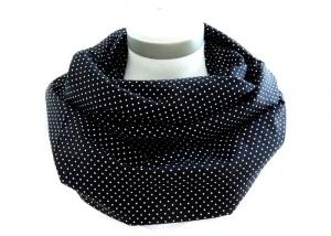 Milo-Schaly Loop Punkte schwarz weiß Damen Baumwolle Loopschal Baumwollschal - Handarbeit kaufen