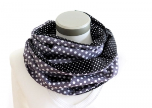 Milo-Schaly Loop Schal Damen Tupfen + Punkte Wendeloop grau schwarz Schlauchschal Baumwolle - Handarbeit kaufen