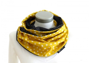 Milo-Schaly Loop Schal Damen Sterne gelb + Punkte schwarz Baumwolle Wendeloop Schlauchschal  - Handarbeit kaufen