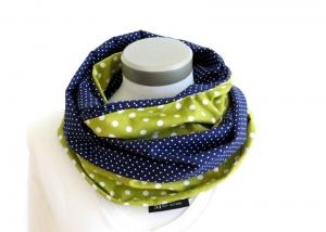 Milo-Schaly Loop Schal Damen Tupfen grün + Punkte blau Wendeloop Schlauchschal Baumwolle  - Handarbeit kaufen