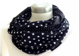 Milo-Schaly Loop Schal Damen Sterne Punkte schwarz weiß Baumwolle Wendeloop Schlauchschal Baumwollschal - Handarbeit kaufen