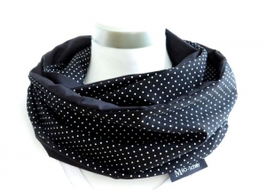Milo-Schaly Loop Schal Damen Baumwolle Punkte schwarz weiß Loopschal Wendeschal - Handarbeit kaufen