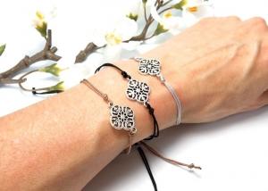 Armband Ornament silberfarben Freundschaftsarmband Makramee Farbwahl 25 Farben  - Handarbeit kaufen