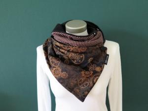 Milo-Schaly  Wickelschal mit Knopf Damen Steampunk braun schwarz Fleece warmer Schal Knopfschal - Handarbeit kaufen